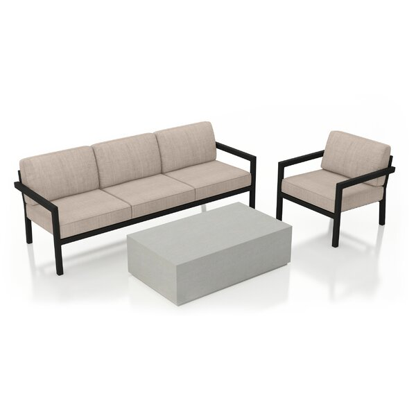 Iliana 3 Piece Sofa with Sunbrella Cushions by 17 Stories