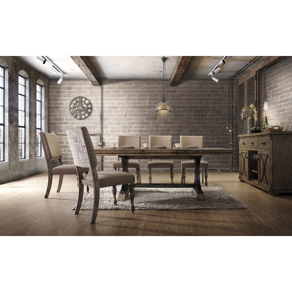 Dasher 7-Piece Removable Leaf Table with Nail Head Chair Dining Set by One Allium Way