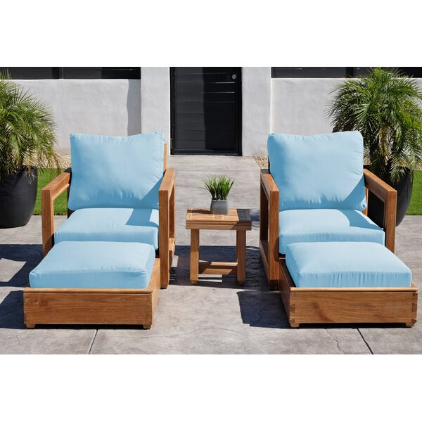 Crelake 5 Piece Teak Seating Group with Sunbrella Cushions by Foundry Select