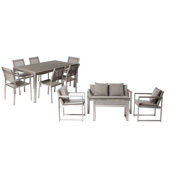 CHSTR LRG 10 Piece Complete Patio Set with Cushions by Rosecliff Heights Rosecliff Heights