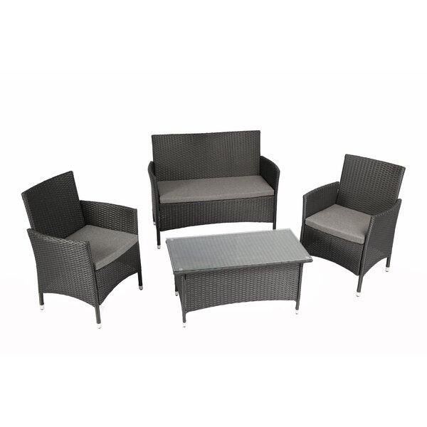 Patillo Outdoor Complete 4 Piece Sofa Set with Cushions by Ebern Designs