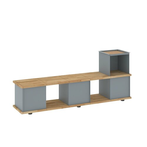 Chon Wood and Metal Storage Bench Brayden Studio Colour: Gre