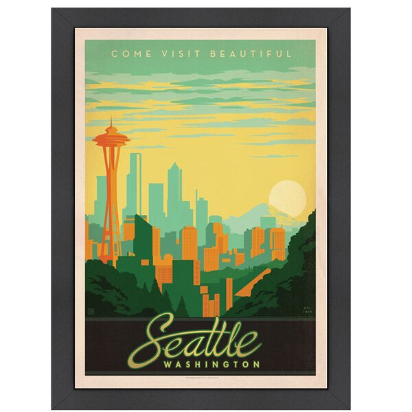Seattle Washington Framed Vintage Advertisement by East Urban Home