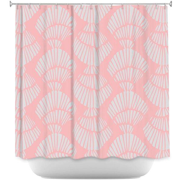 Highland Dunes Hulsey Seashell Cotton Candy Shower Curtain