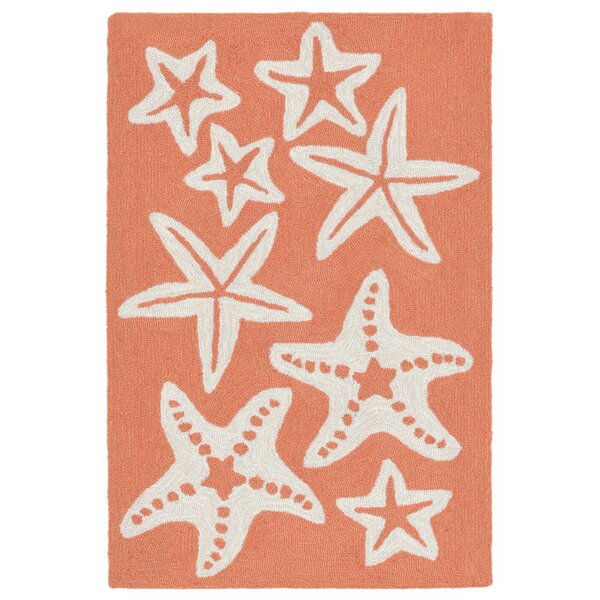 Claycomb Starfish Hand-Tufted Orange Indoor/Outdoor Area Rug by Highland Dunes