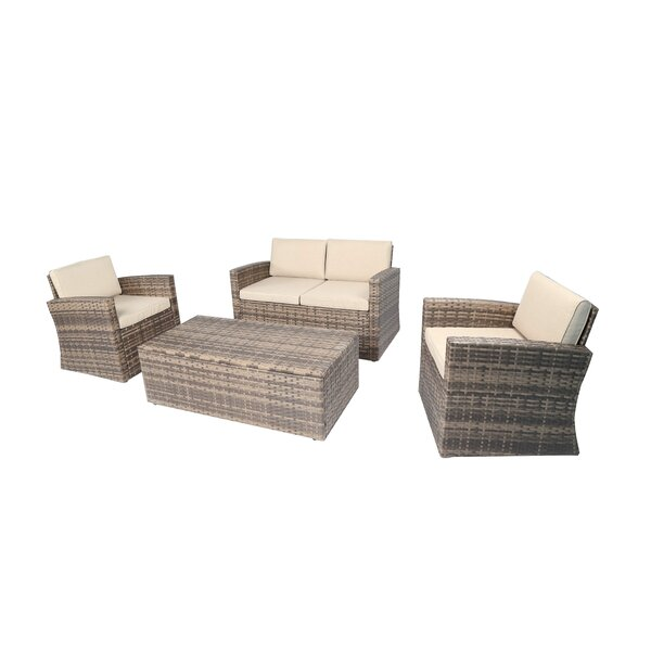 Skipton 4 Piece Rattan Sofa Seating Group with Cushions