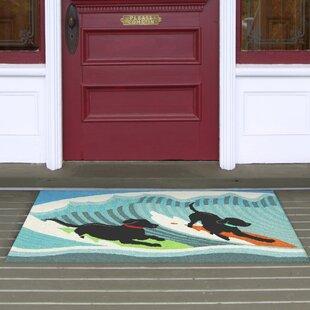 Olsen Surfing Dogs Blue Indoor Outdoor Area Rug