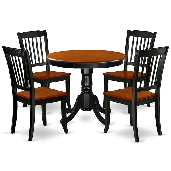 Kyzer 5 Piece Solid Wood Dining Set by August Grove