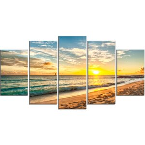'White Beach in Island of Barbados' 5 Piece Photographic Print on Wrapped Canvas Set by Design Art