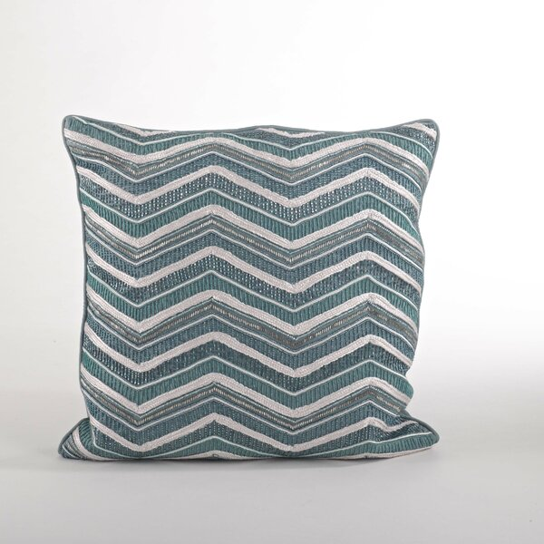Bellissima Sea Green Zigzag Cotton Throw Pillow by Saro