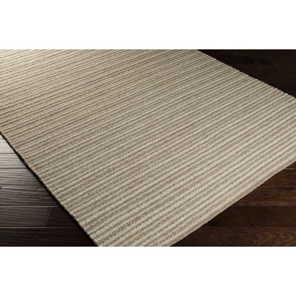 Cedar Oatmeal/Dark Taupe Striped Rug by Union Rustic