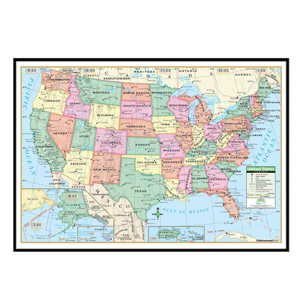 Universal Map United States Primary Mounted Framed Wall Map Wayfair