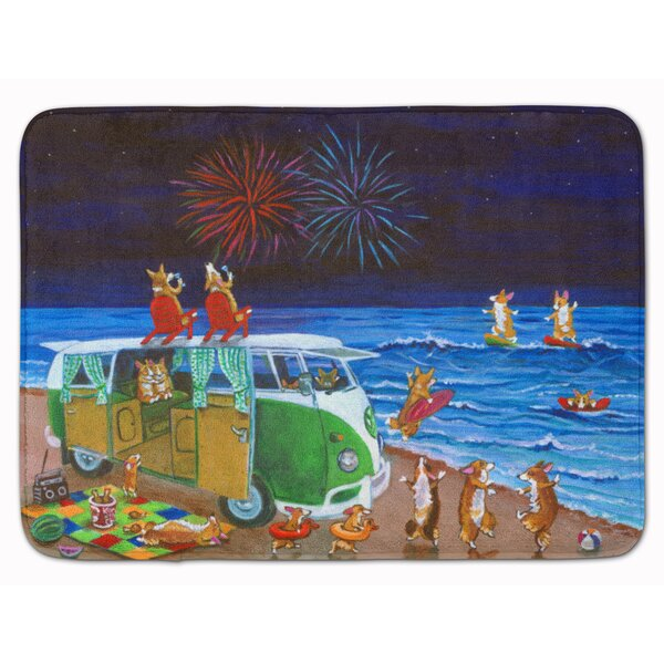 Corgi Beach Party Volkswagon Fireworks Rectangle Microfiber Non-Slip Bath Rug
