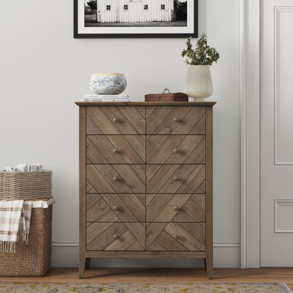 Kidsgrove Reclaimed Pine 5 Drawer Dresser By Three Posts Teen by Three Posts Teen Best