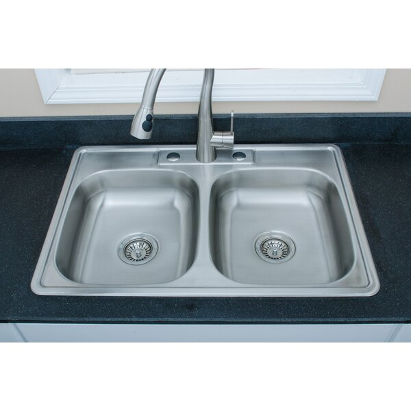 Speciality Series 33 L x 22 W Double Basin Drop-in Kitchen Sink with Basket Strainer