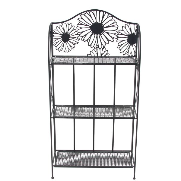 Traditional 3-Tiered Folding Daisy Themed Storage Shelving Unit by Cole & Grey