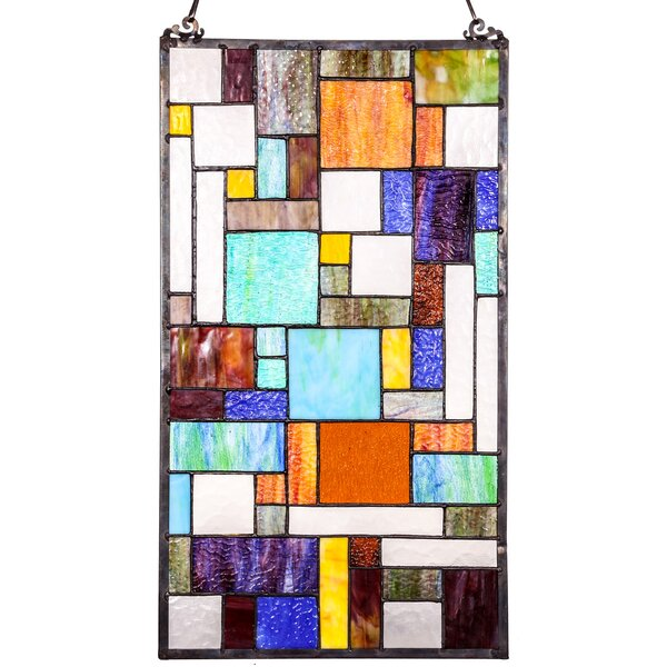Mod Collage Tiffany Style Stained Glass Window Panel by Astoria Grand