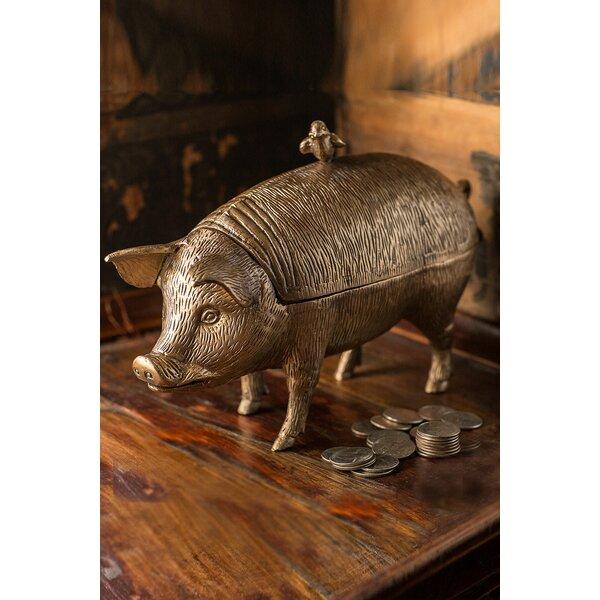 Geraldine Verdigris Brass Pig and Bird by Canora Grey