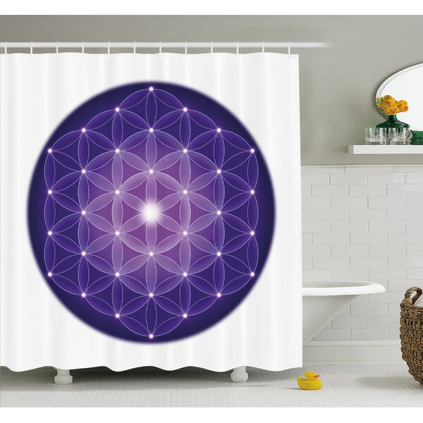 Flower Life Design of Ancient Traditions with Point Stars Archaic Motif Shower Curtain Set by Ambesonne