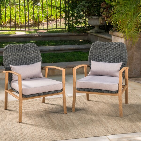 Drago Outdoor Club Armchair with Cushions (Set of 2) by Ivy Bronx