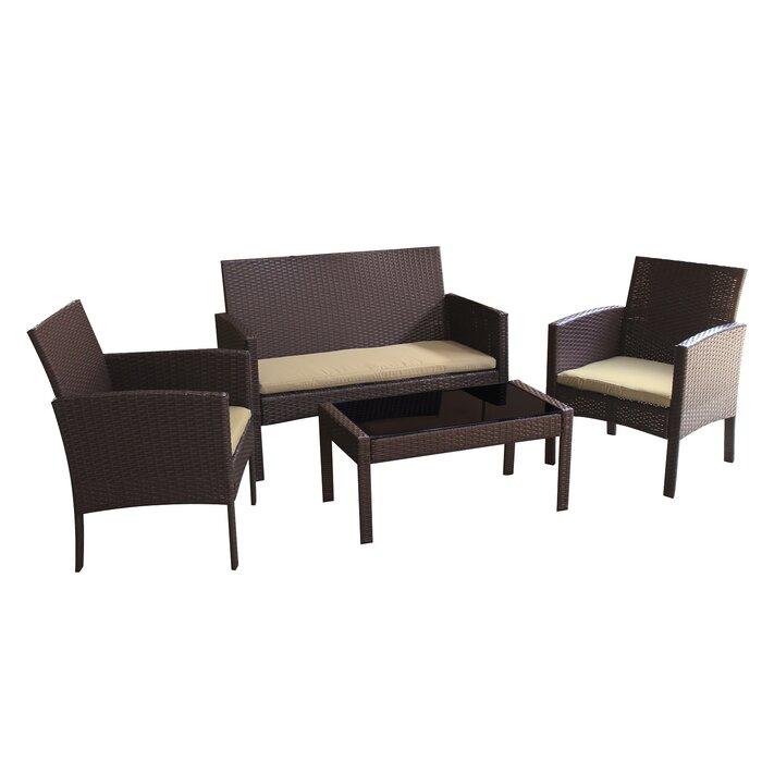 Tessio 4 Piece Rattan Sofa Seating Group with Cushions
