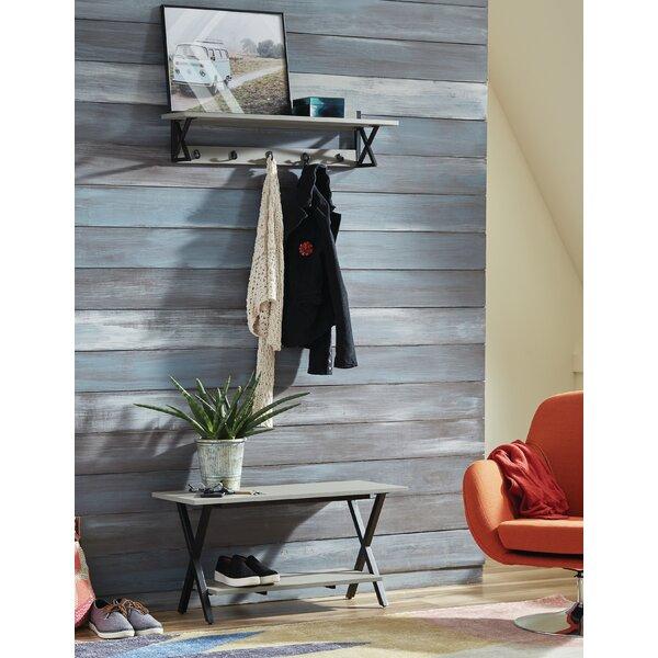 Ingwar Solid Wood Shelves Storage Bench