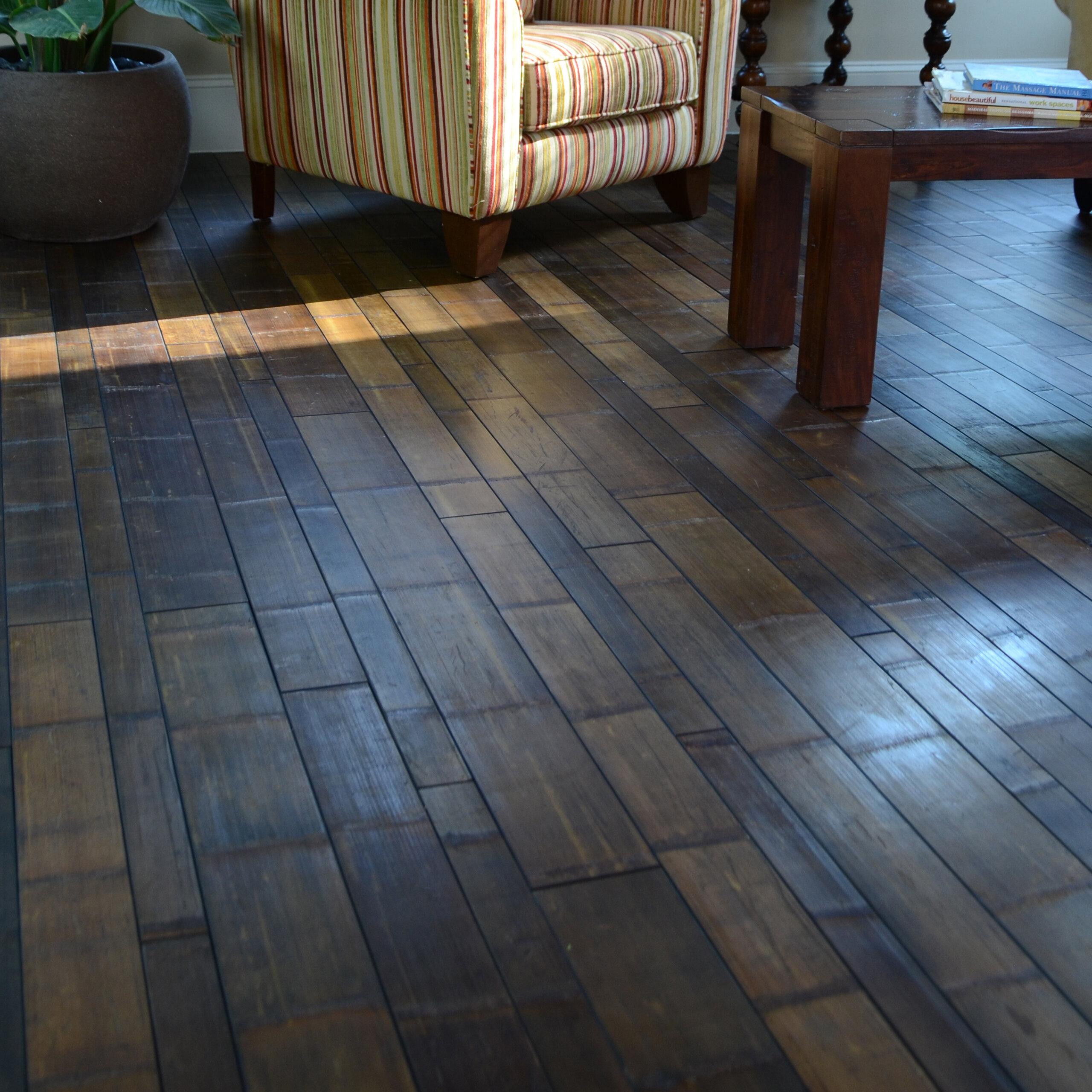 Easoon USA Random Width Solid Bamboo Flooring in Natural Skin