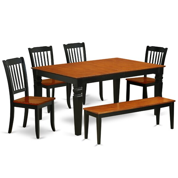 Kosinski 6 Piece Extendable Solid Wood Breakfast Nook Dining Set by August Grove