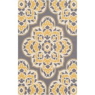 Pelchat Floral Hand-Hooked Gray/Yellow Indoor/Outdoor Area Rug By Bungalow Rose