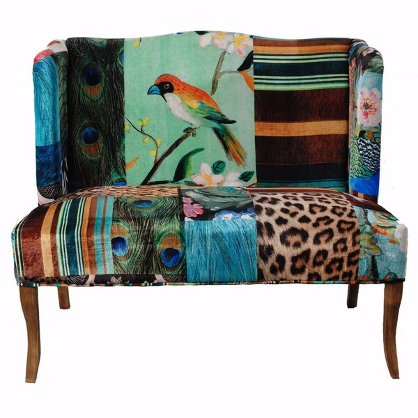 Beautiful Modern Polster Bird Collage Print Settee by Bloomsbury Market by Bloomsbury Market
