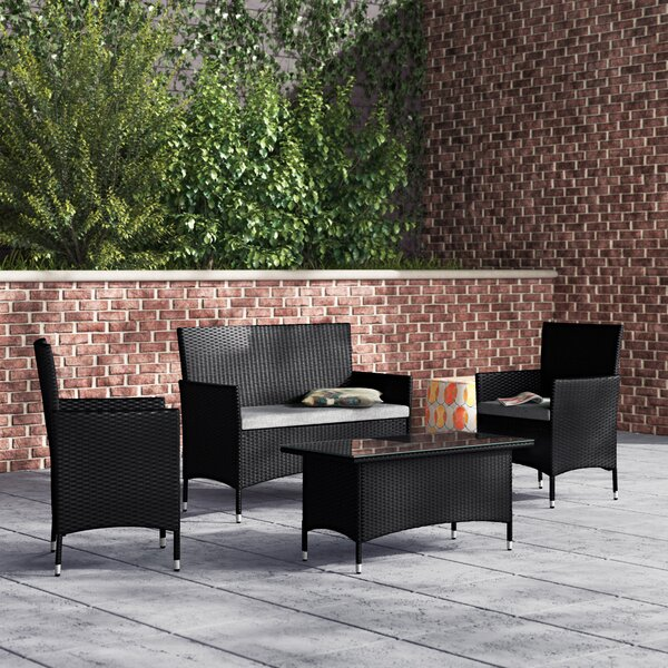 Diep Outdoor Complete 4 Piece Sofa Seating Group by Wrought Studio