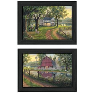 'Coming Home Vignette' 2 Piece Framed Graphic Art Print Set by Trendy Decor 4U