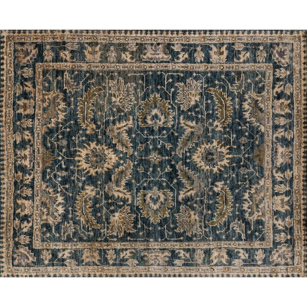 Keister Hand-Knotted Indigo/Slate Area Rug by Alcott Hill