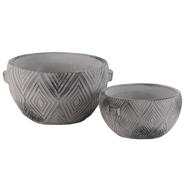 Pindall Round 2-Piece Cemented Pot Planter Set by Bungalow Rose