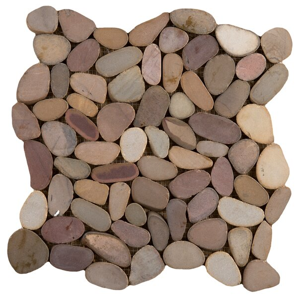 Flat Venetian Pebbles 12 x 12 Mosaic Tile in Gondola Blend by Emser Tile