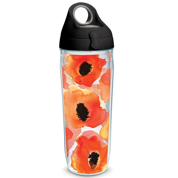 Garden Party Watercolor Poppy 24 oz. Plastic Water Bottle by Tervis Tumbler