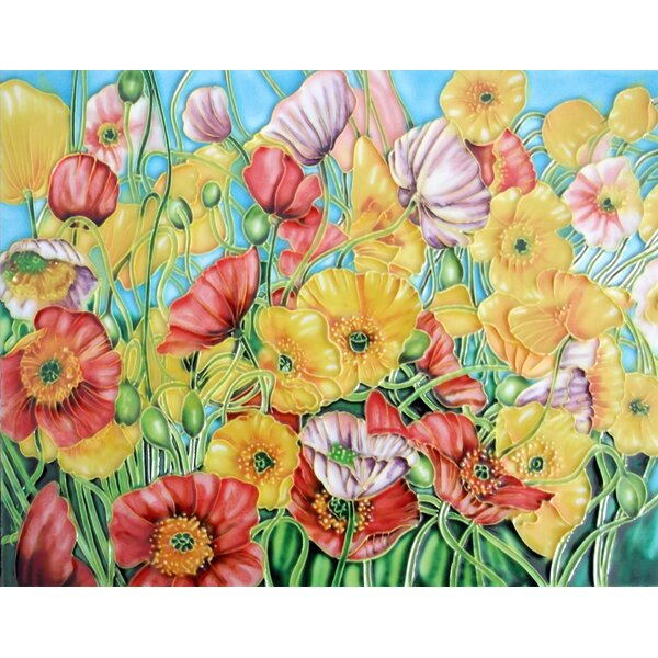 Colorful Flower Tile Wall Decor by Continental Art Center