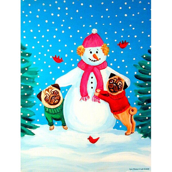 Snowman with Pug House Vertical Flag by Caroline's Treasures