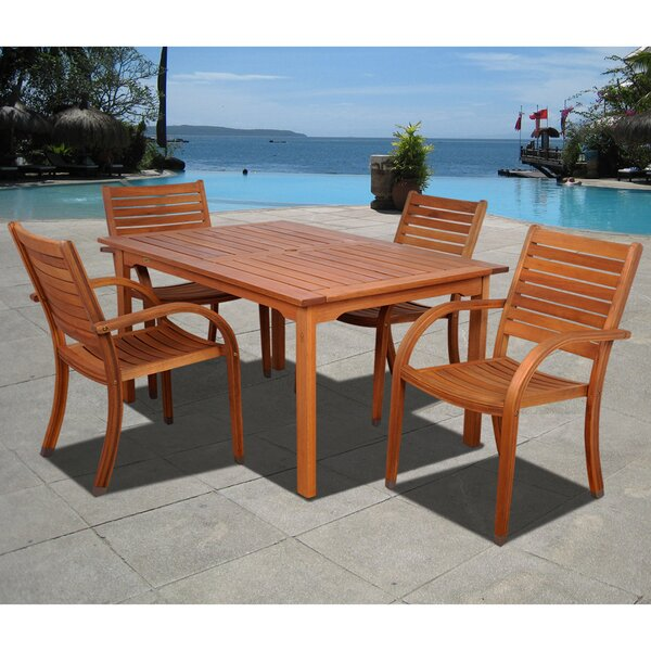 Trombley International Home Outdoor 5 Piece Dining Set by Highland Dunes