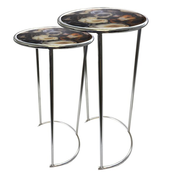 Agate Round 2 Piece Nesting Table by Jodhpuri