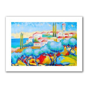 Greece by the Sea' by Susi Franco Painting Print on Rolled Canvas by ArtWall