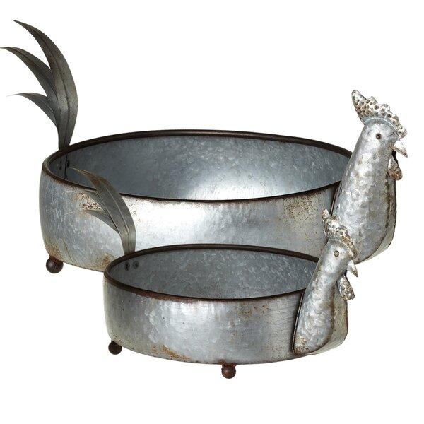 Etzelmueller Galvanized Rooster 2-Piece Metal Pot Planter Set (Set of 2) by August Grove