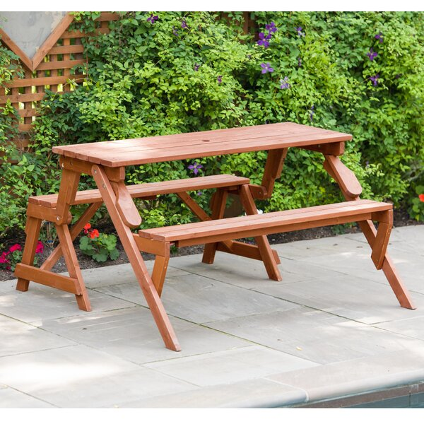 Andres Folding Solid Wood Picnic Table by Freeport Park Freeport Park