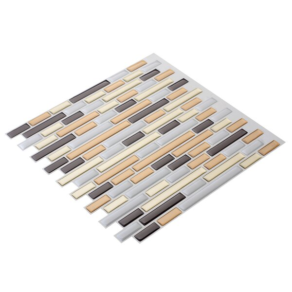 12 x 12 PVC Peel & Stick Mosaic Tile in Gray/Yellow by Art3d
