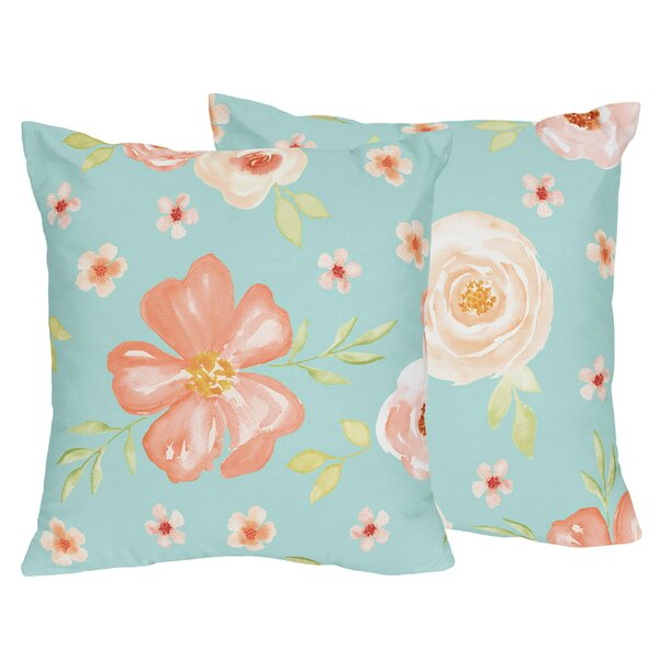 Watercolor Floral Decorative Accent Throw Pillow (Set of 2) by Sweet Jojo Designs