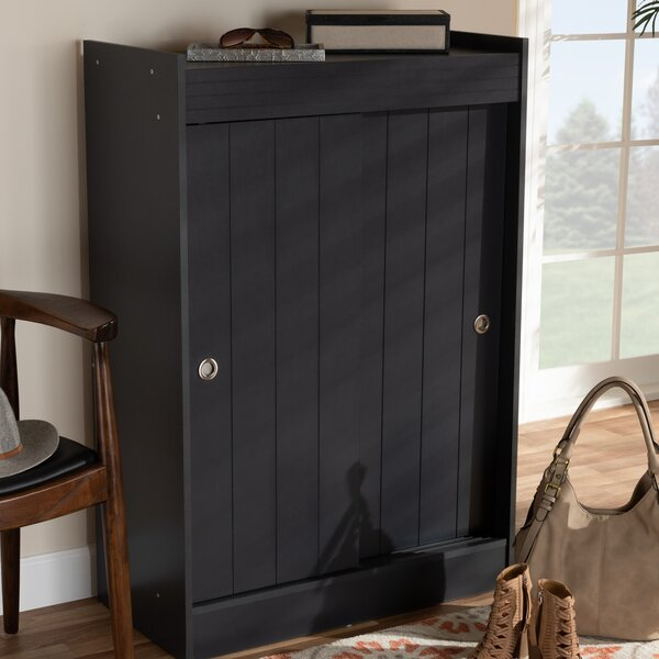 Modern and Contemporary 2 Door Wood Entryway 18 Pair Shoe Storage Cabinet