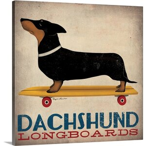 'Dachshund Longboards' by Ryan Fowler Graphic Art on Wrapped Canvas by Great Big Canvas