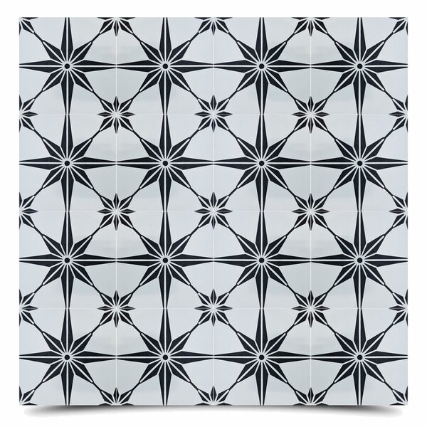 Tafilalt 8 x 8 Cement Field Tile in Black/Gray by Moroccan Mosaic