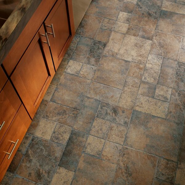 Stones and Ceramics 15.94 x 47.75 x 8.3mm Tile Laminate Flooring in Weathered Way Euro Terracotta by Armstrong Flooring