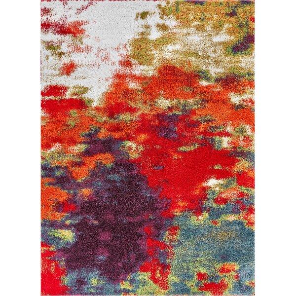 Piatt Mid-Century Abstract Red/Purple Area Rug by Wrought Studio
